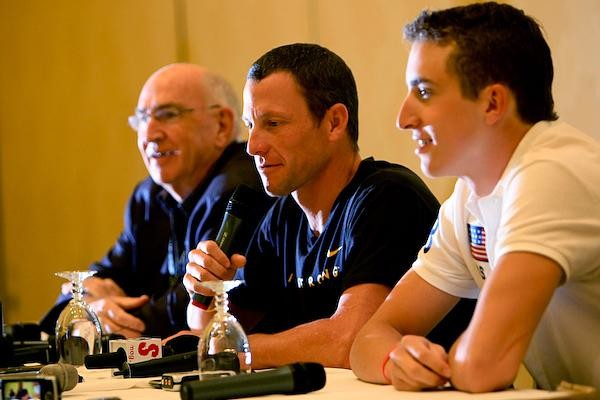 UCLA doping expert Don Catlin (L) with Lance Armstrong and Taylor Phinney in Las Vegas September 25.