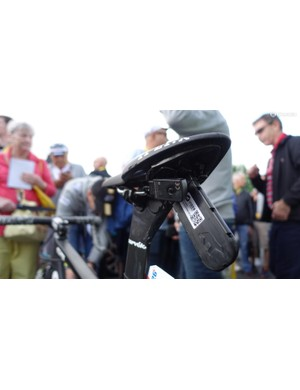 In addition to the transmitter that all racers carry, Dimension Data mechanics placed his Shimano Di2 junction box/charging port under Cavendish's Fizik Arione saddle. Cavendish's seat height is 70.3 centimeters