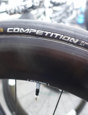 Perhaps the most popular tire in the pro peloton, Cavendish rolls on Continental Competition Pro LTD tires in a 25mm width