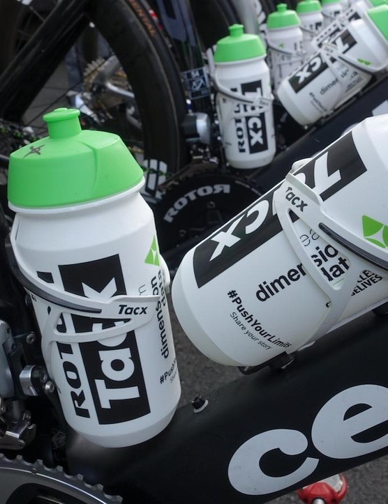 Tacx bottles and cages help keep the sprinter hydrated