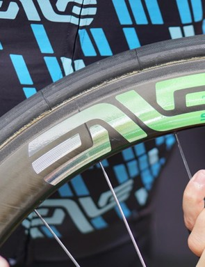 ENVE also gave Cavendish some special treatment on the Chris King hubs laced to his tubulars