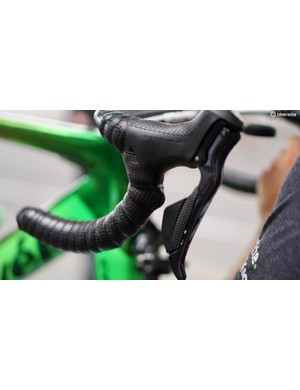 Cavendish's mechanic builds the bike with sprint shifters facing forward like a trigger, instead of the standard thumb-activated position on the inside of the bar