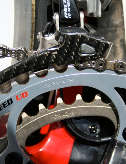 … but the chainrings have been upped to 54/42T instead of the 53/39T of his road machine.