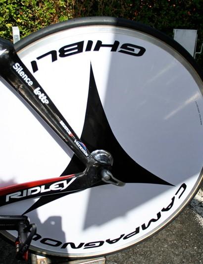 Campagnolo's Ghibli disc wheel has a classic look.