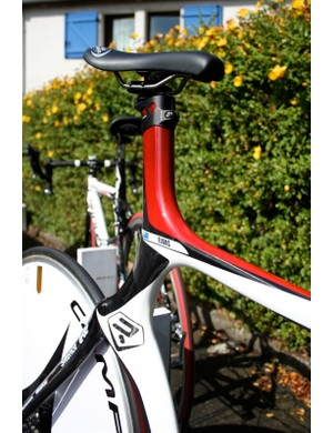 The top tube joins the seat tube in a huge, aerodynamic joint.