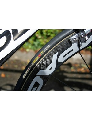Wrapped around the wheels  are a set of Vredestein Fortezza Pro tubulars.