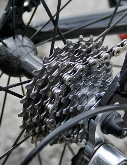 Evans has a steel and titanium Record cassette with a very much all-terrain sprocket tooth range of 11-25.