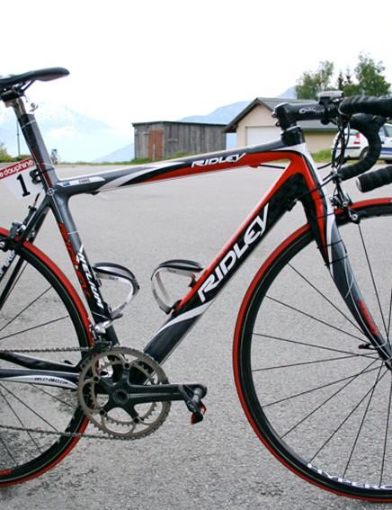 Cadel Evans' Ridley Helium awaits the final stage of June's Critérium du Dauphiné Libéré.