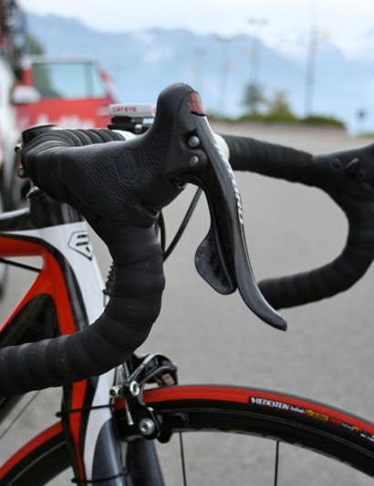 To make his climbing position that bit more comfortable Cadel Evans tilts his Ergopower levers up slightly.