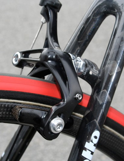 Unlike the front, the rear brake has a single pivot as it doesn't need to be so powerful.