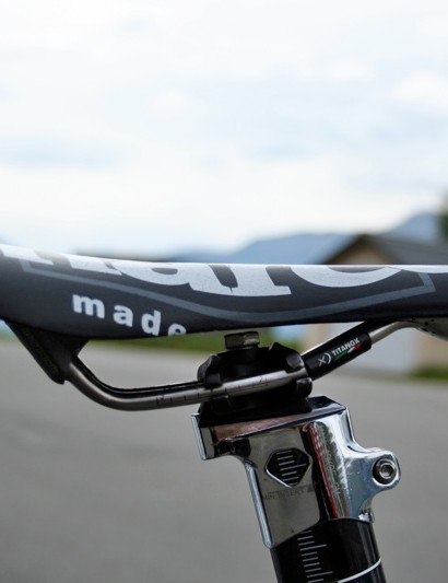 Evans' saddle is a Racing Replica version of Selle San Marco's Aspide.