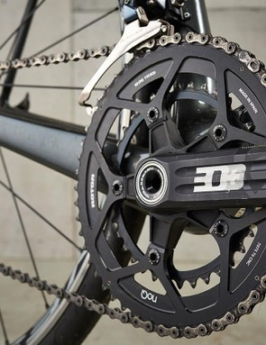 The Rotor chainset has 52/36 rings, a pairing that's gaining popularity