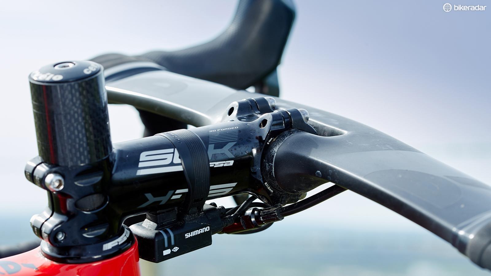 FSA SL-K stem holds the own-brand aero handlebar
