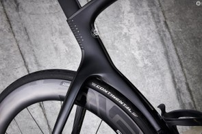The cutaway seat-tube shelters Enve's SES wheels for drag-reducing benefits
