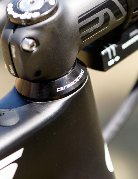 Even the headset is supplied by CeramicSpeed. The Denmark-based company claims such a headset upgrade provides for a 'stiffer' connection and therefore more precise steering. We're yet to be convinced