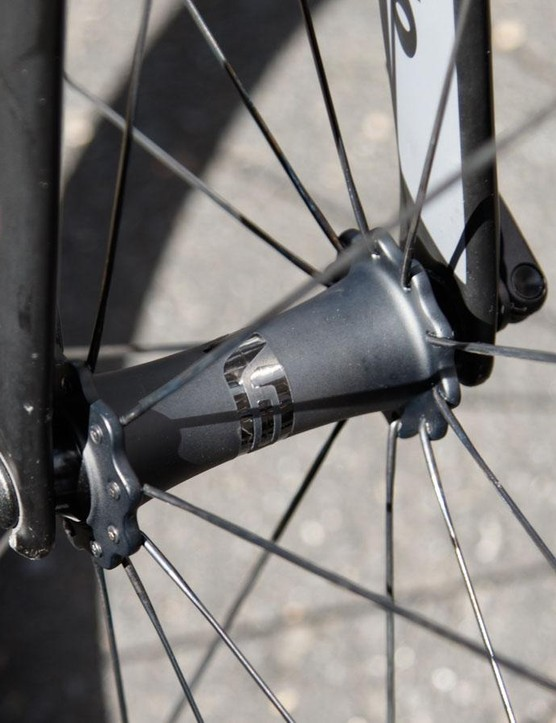 While we saw DT 240s hubs in Haas' SES 4.5 wheels, these ultra light SES 2.2 climbing wheels featured the new hubs. Haas tells that these have been upgraded with ultra-fast CeramicSpeed bearings too