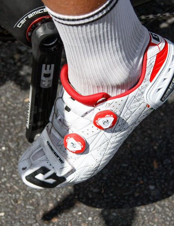 Haas rides in a pair of stock standard Gaerne G.Stilo shoes