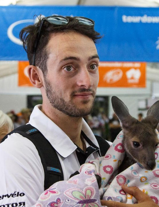 Nathan Haas getting to know the locals at the 2016 Santos Tour Down Under