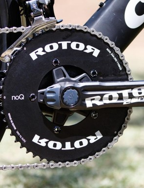 Rotor has plenty in the works. No sign of the Spanish company's new Uno hydraulic groupset, but Haas was riding a prototype of the new 2INPower power meter crank