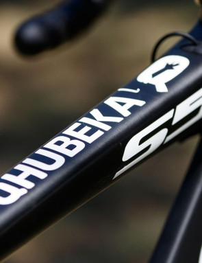 The South African-registered team is the first African team to make the WorldTour. Qhubeka is World Bicycle Relief's program in South African, where bicycles are used to provide transport in advancing education, health and economic opportunities. Mark Renshaw had this logo ghosted into the top tube of his S5