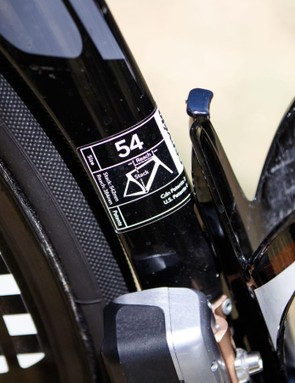 Nathan Haas rides a stock 54cm Cervélo S5 frameset