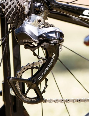 Not many in the peloton are allowed these pulley wheels, as they conflict with other sponsorship deals. The OSPW system from CeramicSpeed claims to save upward of 2.4 watts