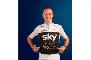 Chris Froome (Team Sky) shows off the new jersey for the Tour de France