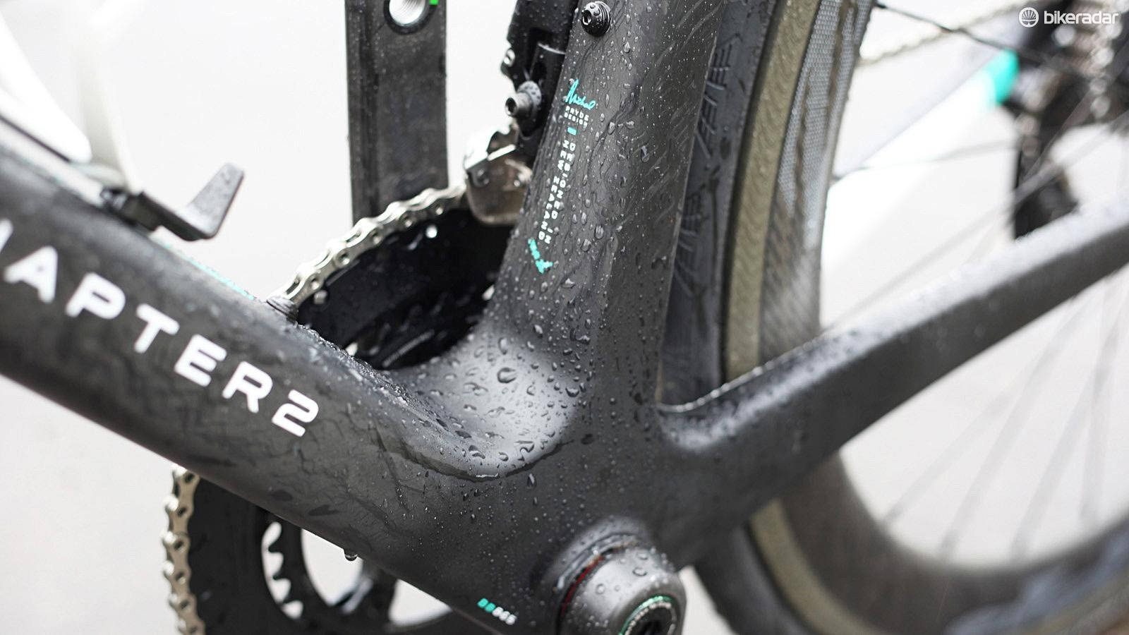 The boxy bottom bracket is moulded using a PU mandrel, which Chapter claims improves the strength and stiffness while controlling the weight