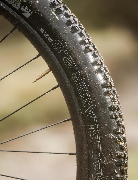 Charge has designed the Cooker around WTB's 2.8in Trailblazer tyre, but you'll want more tread up front if you ride in the wet