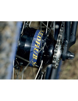 The bolted rear hub is double-sided