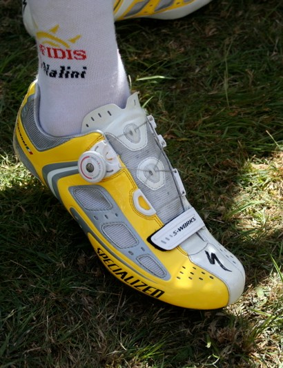 Silvain Chavanel (Cofidis) is showing a lot of confidence with his personalised yellow Specializeds.