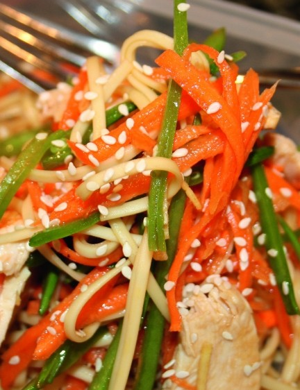 Crunchy vegetables and a sprinkling of sesame seeds for texture and nuttiness
