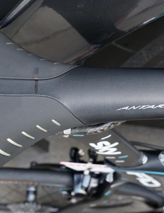 Sky mechanics mark all the riders' saddles and seatposts to ensure all bikes fit identically