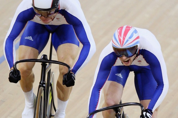 Chris Hoy on his way to a gold medal in the men's sprint at the 2008 Olympic Games in Beijing