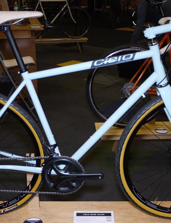 Cielo launched its new mixed surface bike, the Base Racer, at NAHBS. It will be available for order on March 10 and features Enve's GRD fork and a T47 oversize threaded bottom bracket, the first Cielo to have the new bb spec.