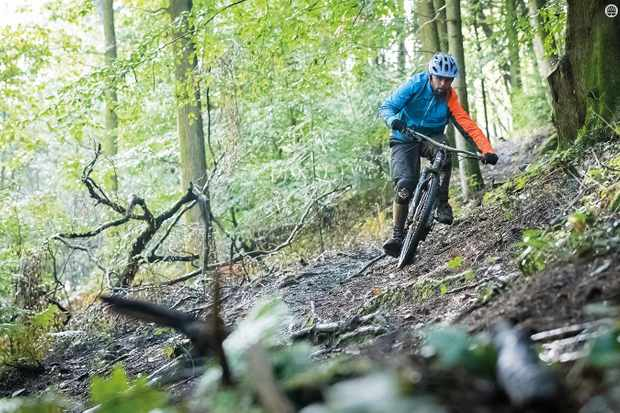 Avoid slippery roots on off-camber sections if you can