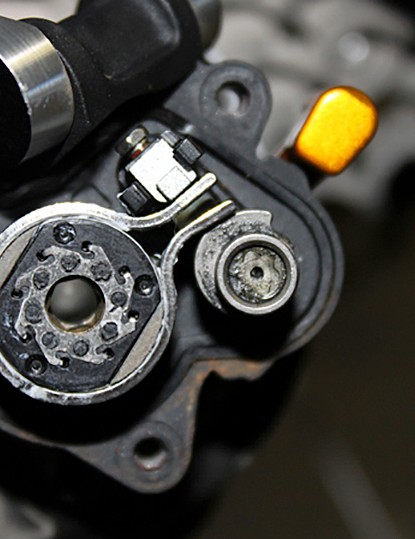 A view of the cam mechanism in the 'on' position