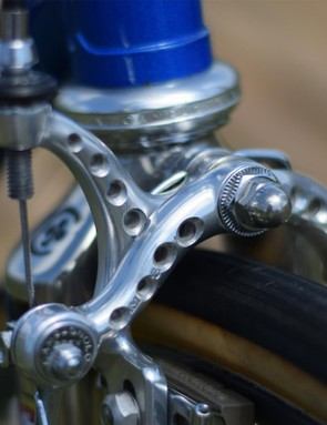 We're not saying that you should drill holes in your brakes but by golly these Campags from the Colnago Super do look, well, super...