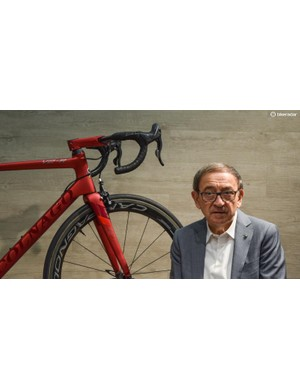 It can be hard to tell, but Ernesto Colnago is super stoked about his new whip