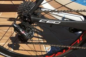 Gilmore's bike wears an 11-27t Campagnolo Super Record cassette
