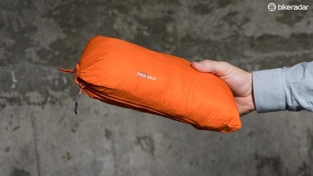 The jacket packs down into a chest pocket for easy stowage