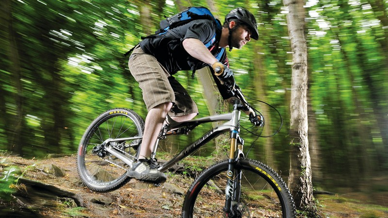 Okay, this is actually me. Loose-fitting mountain bike kit is inherently easier to find, but just for the hell of it is still awkward