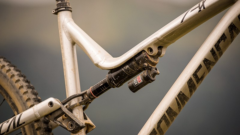 The hollow in the top tube has room for a metric RockShox Super Deluxe shock