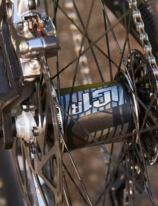 E13 provides wheels and a carbon chainset, while SRAM provides the 7spd downhill specific X01 DH group