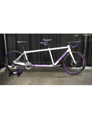 Co-Motion brought home Best Tandem for its bright white and purple road bike. With Di2 shifting, hydraulic brakes and low weight, it was built for fast two-up riding