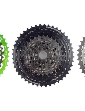 Competition from Shimano, as well as from aftermarket add-on cogs and cassettes may have spurred the development of SRAM's 12-speed group. From left to right: OneUp's 44t add-on cog for XX1 and XO1 cassettes, e*thirteen's 9-44 TRS+ cassette and Shimano's 11-42t XT cassette
