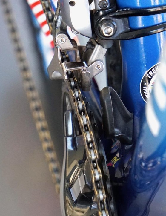 Tucked underneath her front derailleur is Trek's proprietary Boone chain catcher, just in case