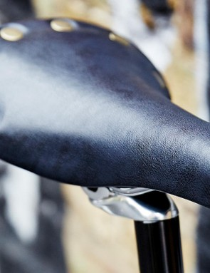 The rivetted saddle continues the bike's classic looks