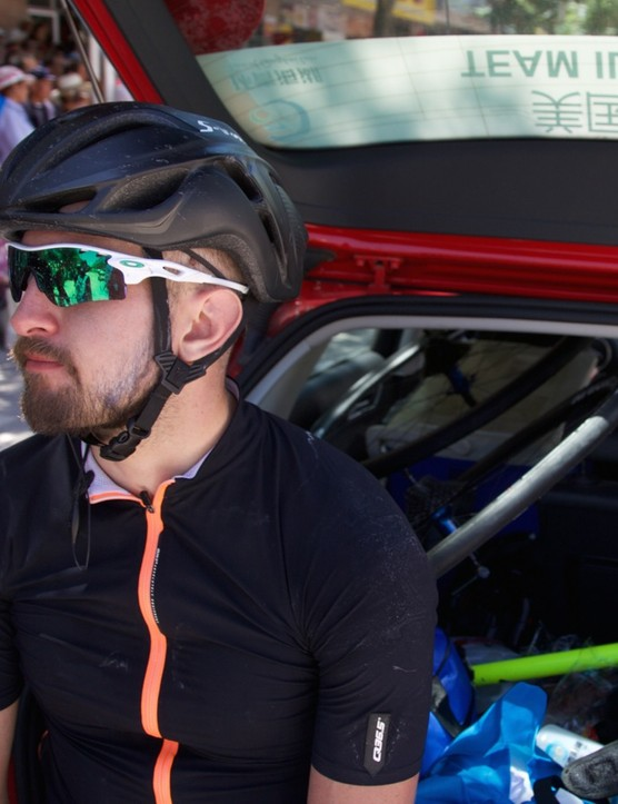 McCutcheon at the Tour of Qinghai Lake, where he won the Most Aggressive Rider prize on stage 9