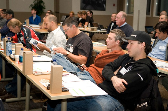 Yeti's Chris Conroy (orange top) spoke and learned a lot during the Summit.